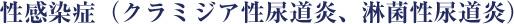 性感染症(クラミジア性尿道炎、淋菌性尿道炎)